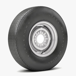 wheel tire vintage 3D model