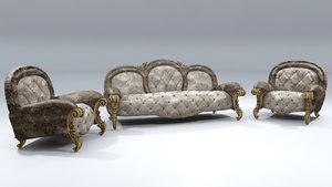 sofa chair italian 3D model
