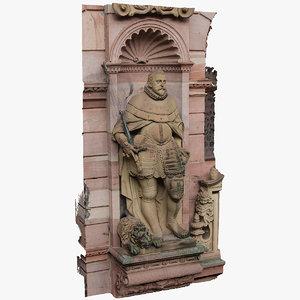 3D model statue heidelberg castle