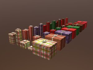 christmas gift box pack1 3D model
