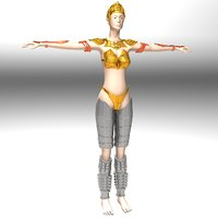 3D ancient roman greek female warrior model