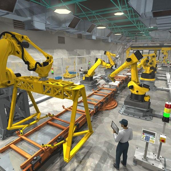 massive modular robotic industrial 3D model