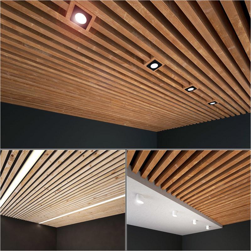 3D wooden wood ceiling model