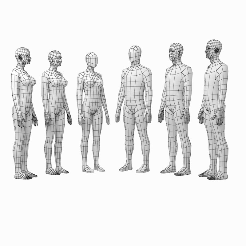 human female male bodies 3D