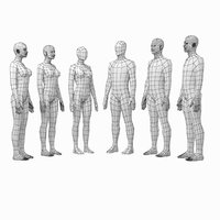 Female and Male Base Mesh Natural Proportions in Rest Pose BUNDLE