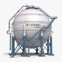 spherical tank clear 3D model