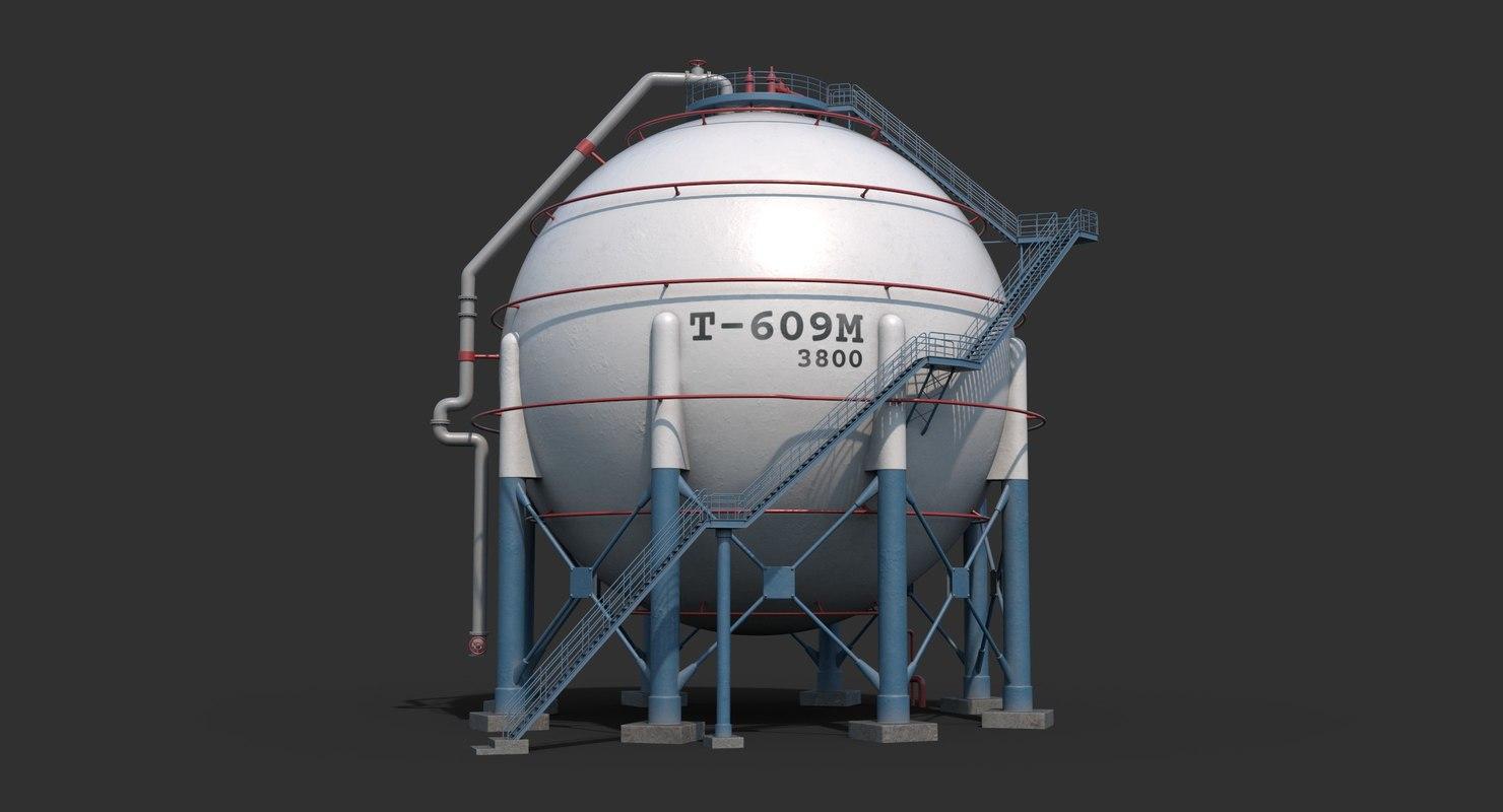 spherical tank clear 3D model