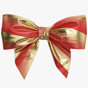 3D red gold bow 05