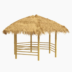 canopy shelter bamboo 3D model