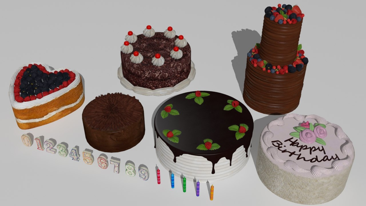 cakes birthday candles 3D model