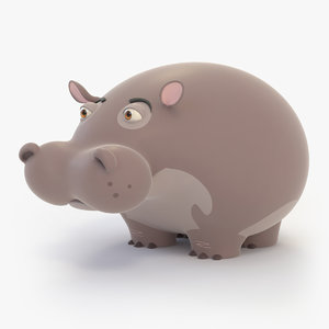 hippo cartoon 3D model