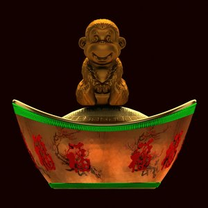 3D chinese gold ingot monkey