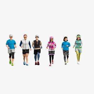 3D model man runner woman
