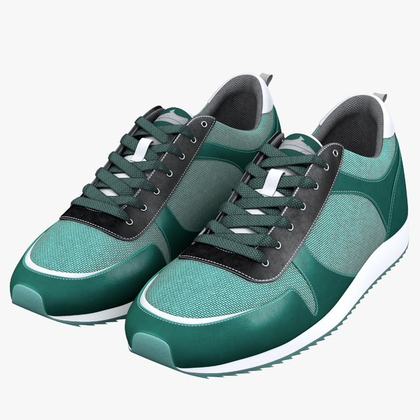 3d green running shoes model