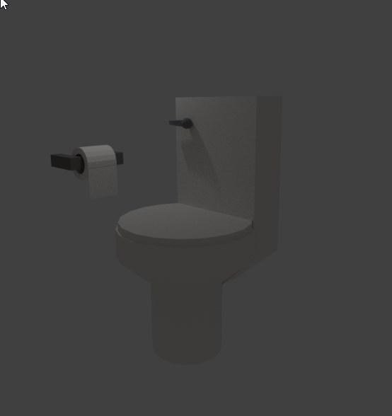 3D toilet bathroom paper model