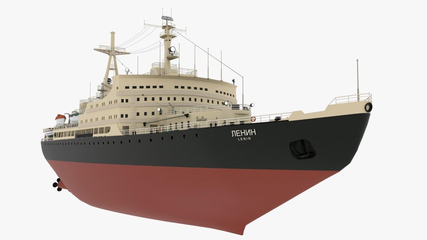 icebreaker lenin ship vessel 3D model
