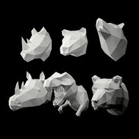 Low Poly Animal Head 3D model