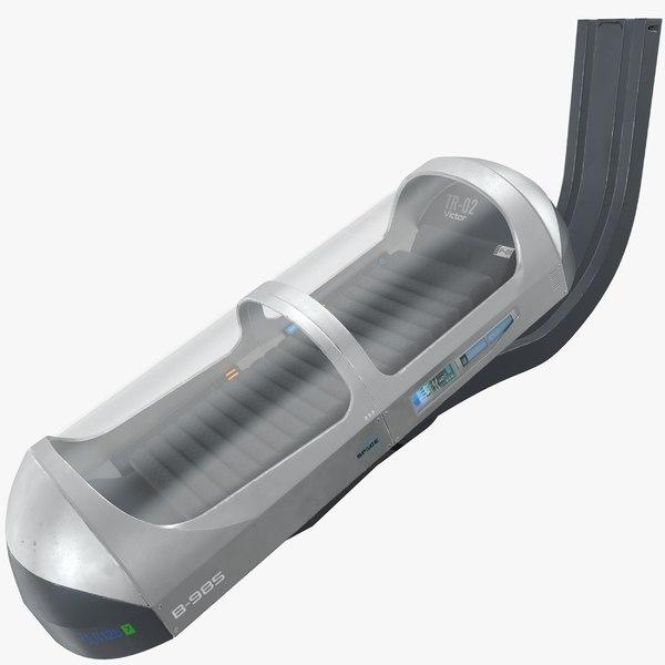 3D scifi hibernation pod - model