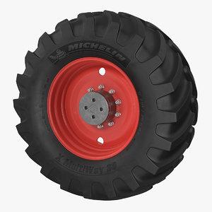 3D michelin tractor wheel model