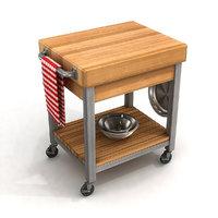 kitchen cutting block cart 3D