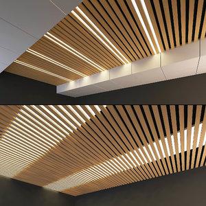 wooden ceiling set 9 3D model