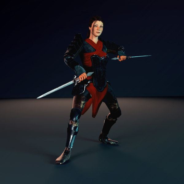 3D warrior female character ready