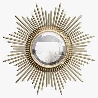 3D wrlo2409 wall mirror sunburst