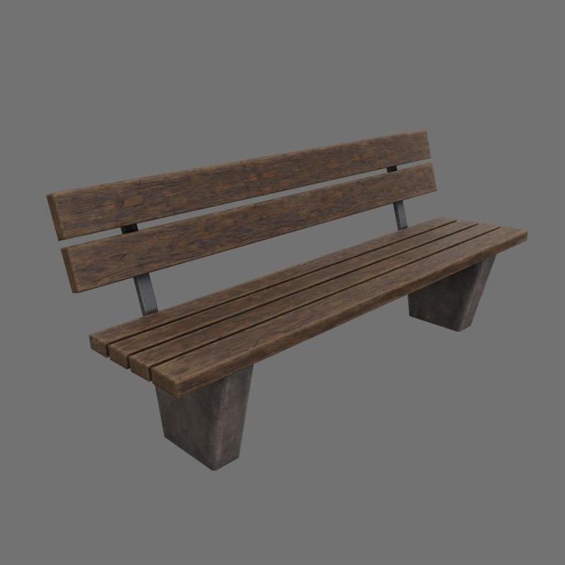 3D realistic street park bench model