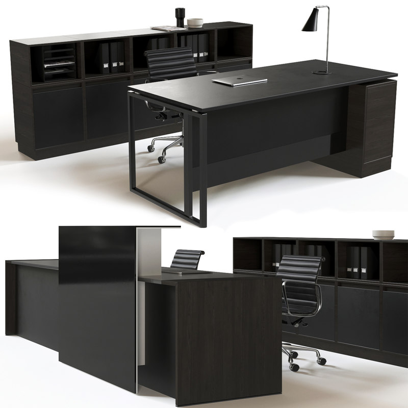 office furniture set reception desk 3D model