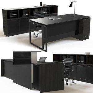 office furniture set reception desk 3D model