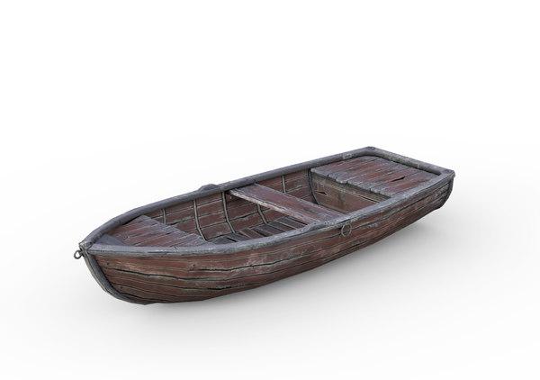 3D old wooden boat games model