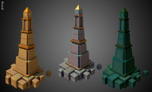 obelisk stilized 3D model