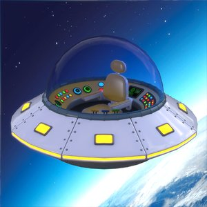 3D model cartoon ufo ship