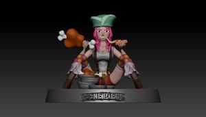 3D bonney pirate piece model