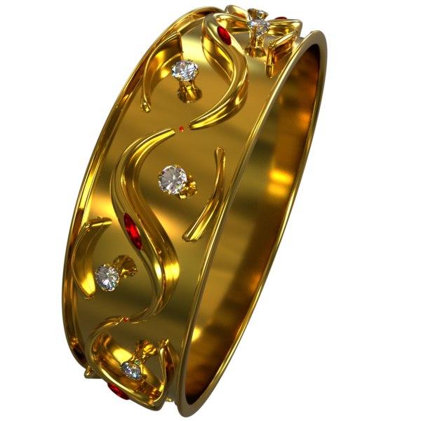 3D bracelet diamond gold