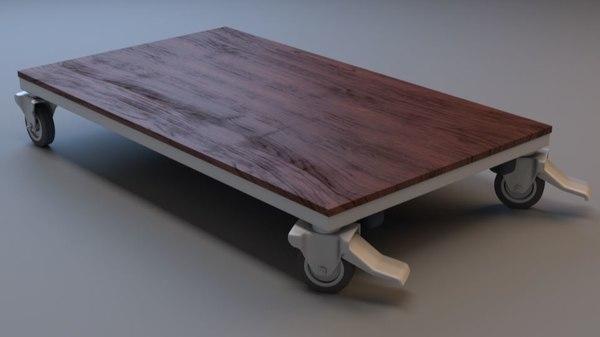 rigged office desk carrier 3D model