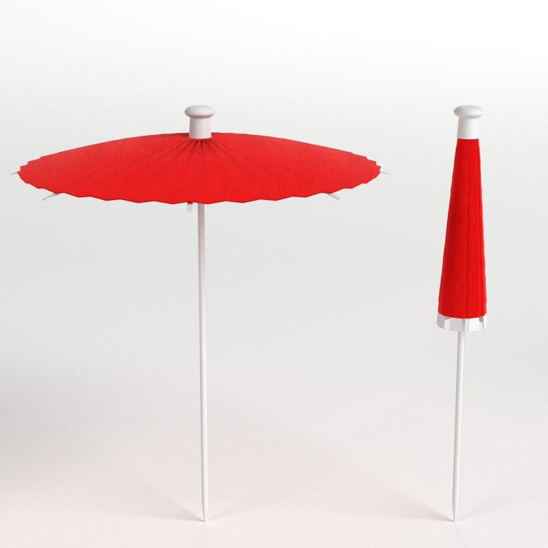 cocktail umbrellas 3D model
