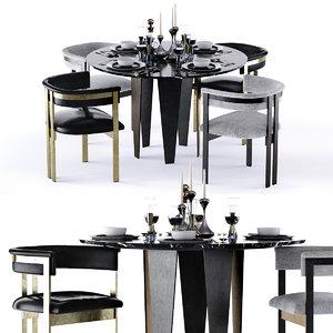 3D model grafton table elliot chair