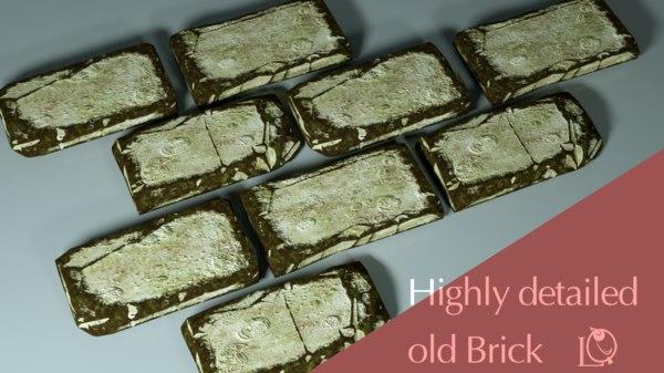 old moss brick 3D model