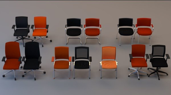 3D rigged 7 combined office chair