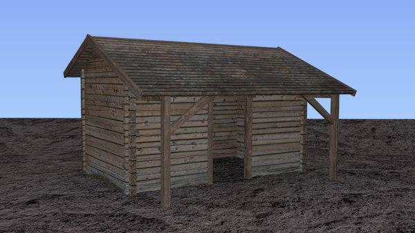 3D storehouse barn farms house model
