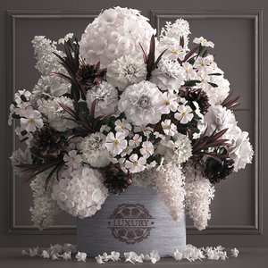 3D bouquet white flowers gift box