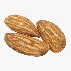 3D realistic 3 almonds