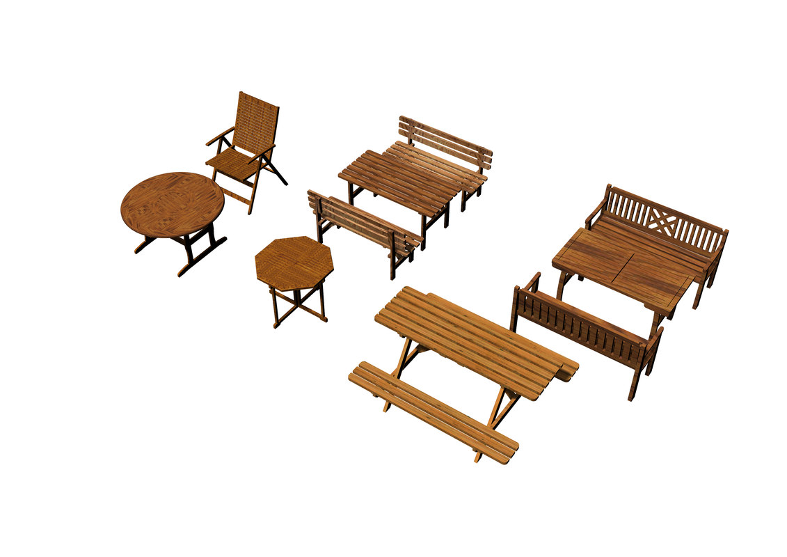3D set gardening furniture model