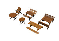 3D set gardening furniture model