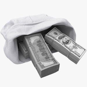 bag stacks dollars 3D