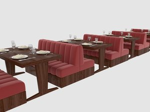 set dining table restaurant 3D