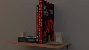 shelf rook books 3D model