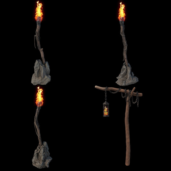 torches pbr setup v-ray 3D model