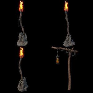 torches pbr setup v-ray 3D model